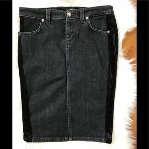 Versace Black Denim and Velvet Pencil Skirt